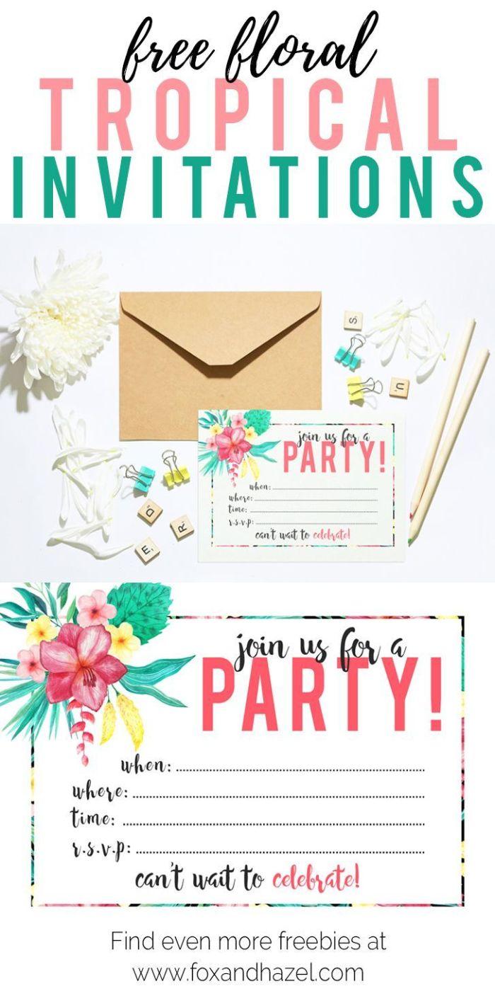 einladungskarten drucken, briefumschlag, tropische party deko idee, einladung mit blumen