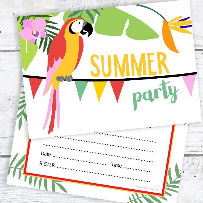 einladungskarten drucken, papagai, sommerparty deko idee, blumen und lustige farben