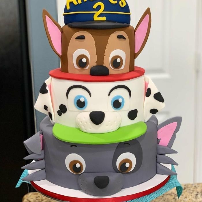 Paw Patrol Fondant Torte für Kinder, Chase Rocky und Marshall aus Fondant, dreistöckige Torte
