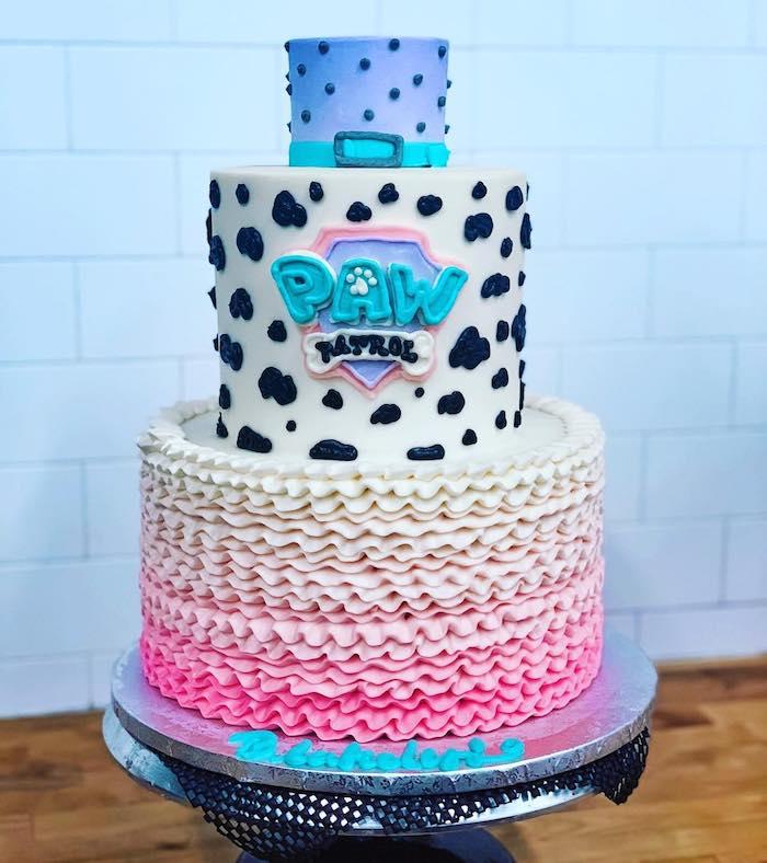 Paw Patrol Torte für Kindergeburtstag, dreistöckige Torte, ausgefallene Torte für Mädchen