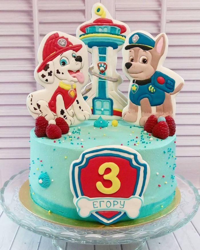 Paw Patrol Geburtstagstorte mit Chase und Marshall, Torte mit blauer Creme für Junge