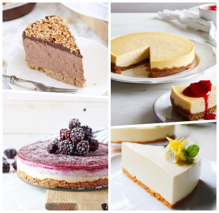 käsekuchen ohne backen schnell, käsekuchen mit schokolade, torte mit brombeeren, cheesecake rezepte