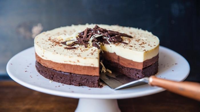 kuchen ohne backen schnell, tripple schokolade torte, schokokuchen rezept, philadelphia torte