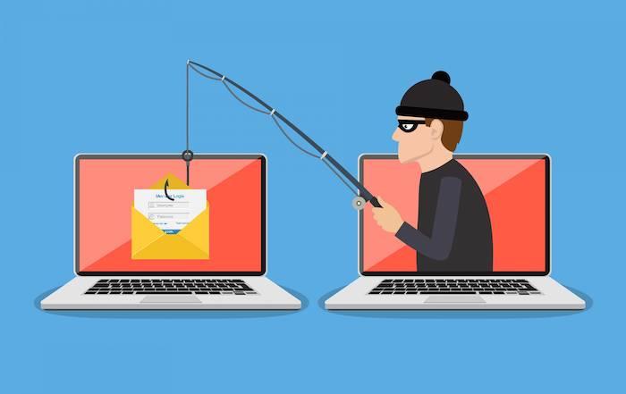 ein neuer phishing trick, kriminelle mut einer schwarzen angel mit einem schwarzen angelhaken, zwei laptops und ein gelber briefumschlag