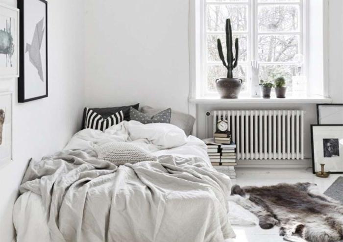 minimalistisch leben, graue skandinavische deko ideen, kaktus deko, wanddeko