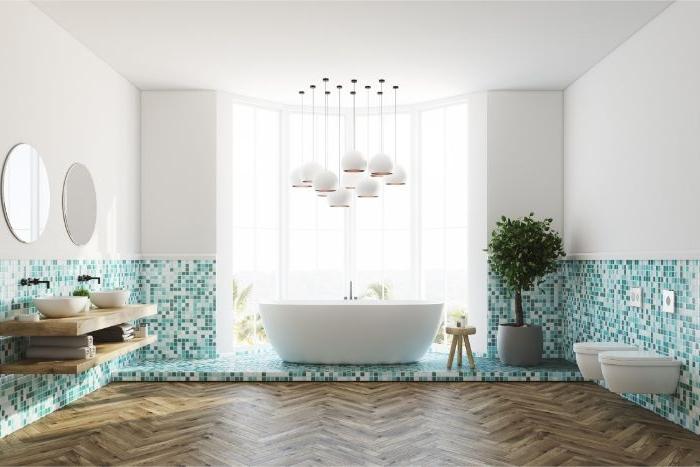 minimalistisch wohnen, dekor ideen und einrichtungsideen für badezimmer weiß und blau