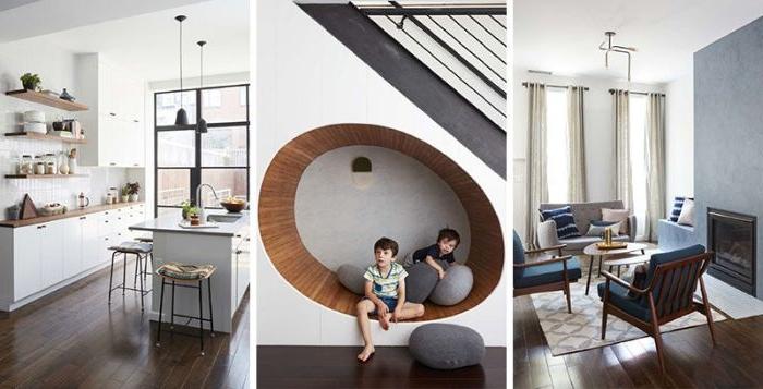 minimalistisch wohnen, drei design ideen, wohnzimmer, küche, kinder in der mitte auf einer besonderen sitzbank