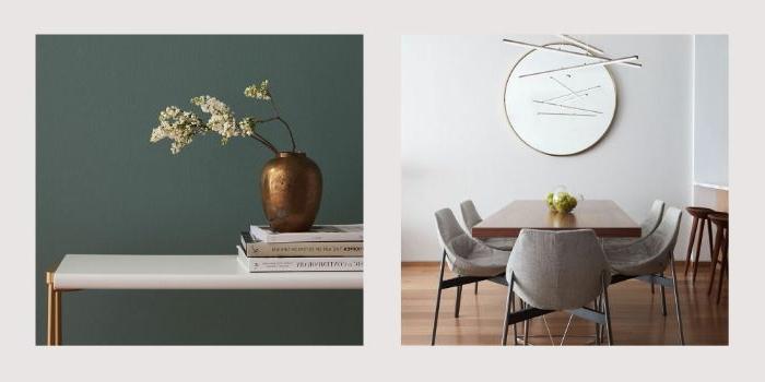 minimalistisch wohnen, zwei dekor ideen mit vasen, wand in petrol farbe, wandspiegel