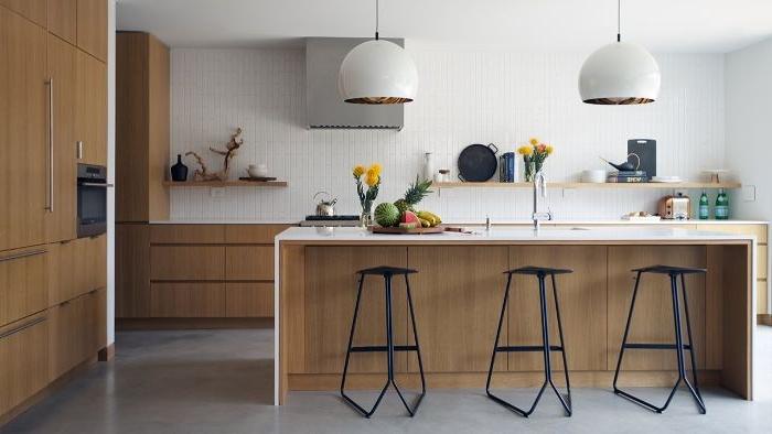 weniger ist mehr, deko ideen und möbel einrichtung in der küche, kochinsel idee