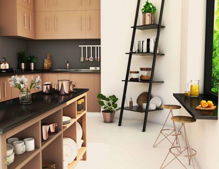 weniger ist mehr, küche dezent und kreativ einrichtungsideen, deko blumen, treppe, leiter