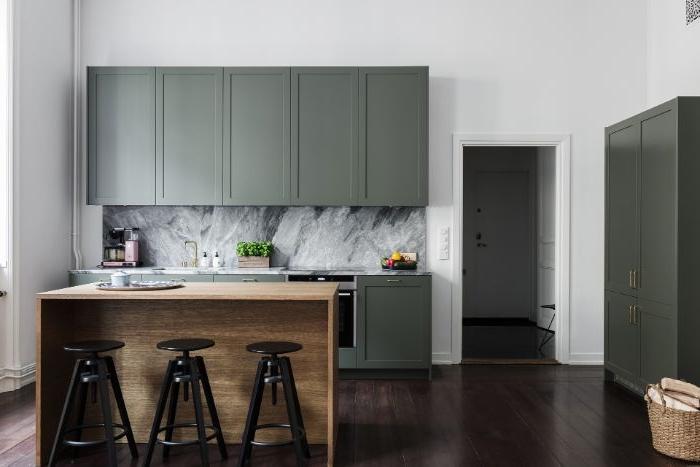 minimalismus lebensstil, petrol farbe, marmor muster wanddeko über die kochplatte
