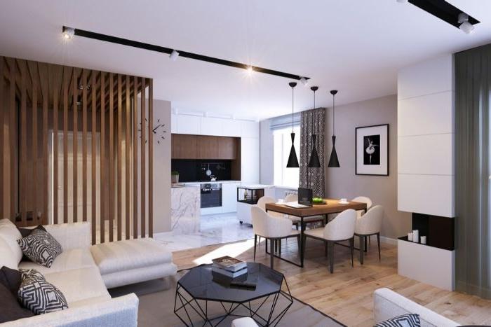minimalismus lebensstil, küche und wohnzimmer in einem raum, kreative dekorationen und möbel
