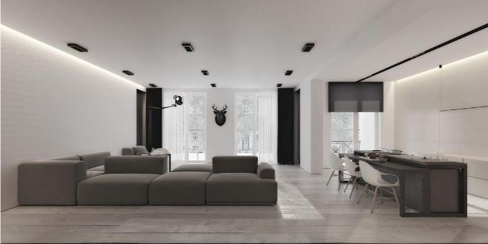 minimalismus tipps, graues design, hausdekor, großes graues sofa, esstisch dunkelgrau