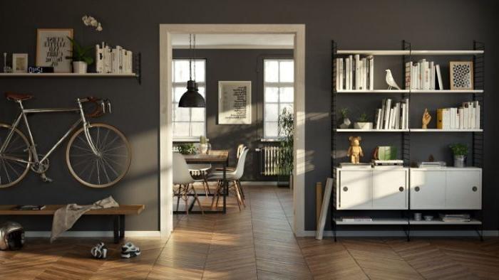 minimalistisch leben erfahrungen, schwarze wände, bücherregale, fahrrad