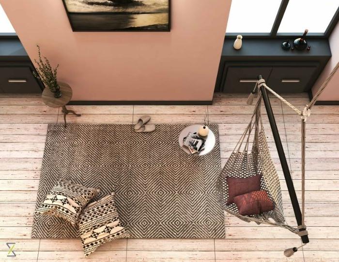 minimalistisch leben erfahrungen, orientalische einrichtung minimalismus modern, hängesessel