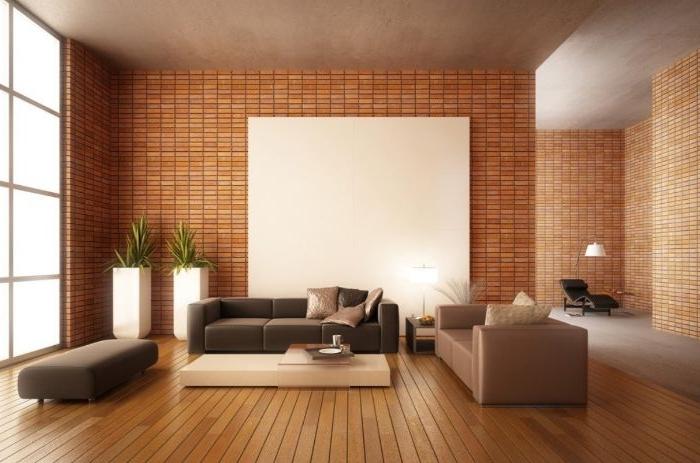 minimalistische bilder, braun und beige zimmer wohnzimmer gestalten, zimmerpflanzen