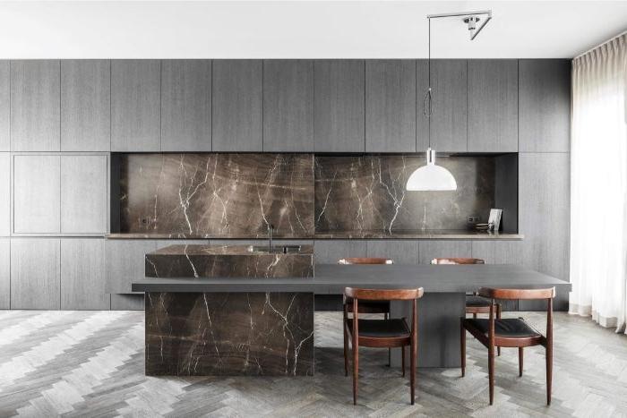 minimalistische bilder, graue farbe in der küche, dunkelgrau, marmormuster design