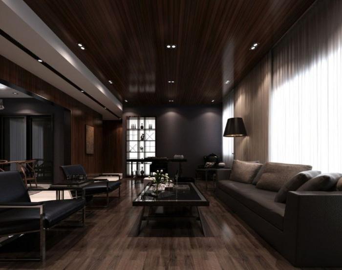minimalistische bilder, schwarzes zimmer einrichten, dekorationen, tisch mit zwei sofas
