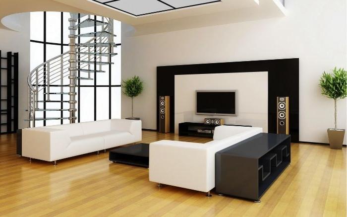 minimalistische bilder, wandbider, wanddeko, weiße möbel, schwarze einrichtung, fernseher, runde treppe