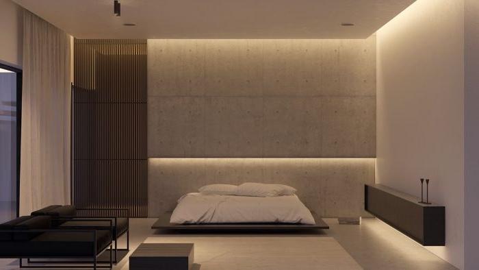 minimalistische einrichtung, beige zimmerfarben, tolle integrierte beleuchtung, zimmerdesign