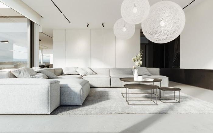 minimalistische möbel, weißes ecksofa, weiße kugellampen, ikea möbel skandi oder minimalismus