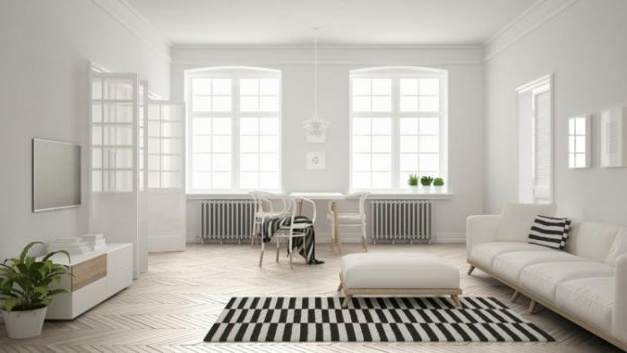 minimalistisch einrichten, schwarz weiße wohnung, ein teppich gestreifte deko