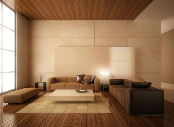 minimalistisch wohnen vorher nachher, braun, beige und schwarz, wenige möbel in einem großen raum