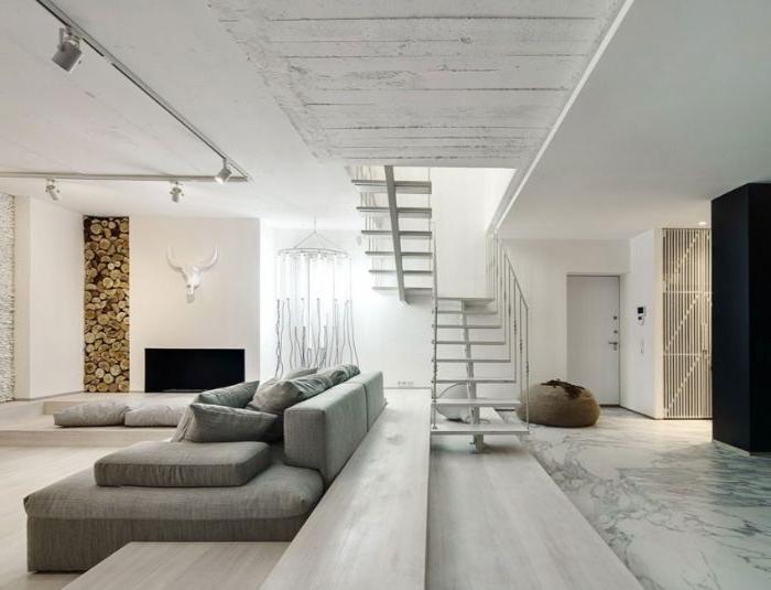 minimalistisch wohnen vorher nachher, grau simples design, marmorboden, großes sofa
