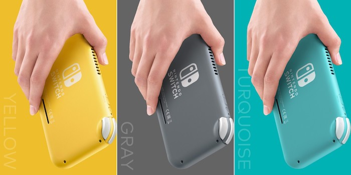 drei hände mit drei kleinen nintendo konsolen, die nintendo switch lite in drei fraben gelb, grau und türkis