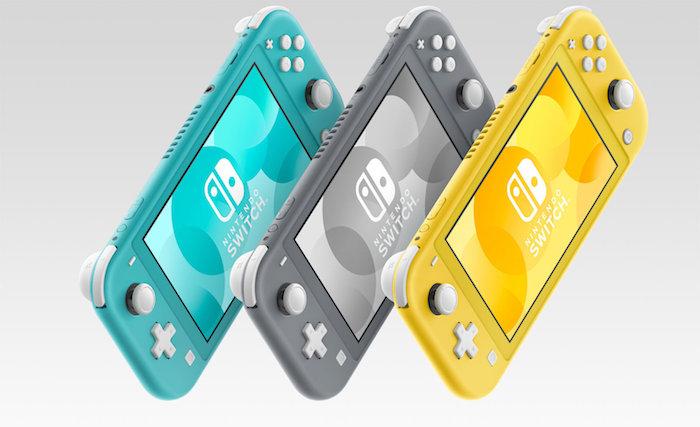 die neue konsole für spiele von nintendo in drei farben, drei kleine konsolen in grau, gelb und türkis