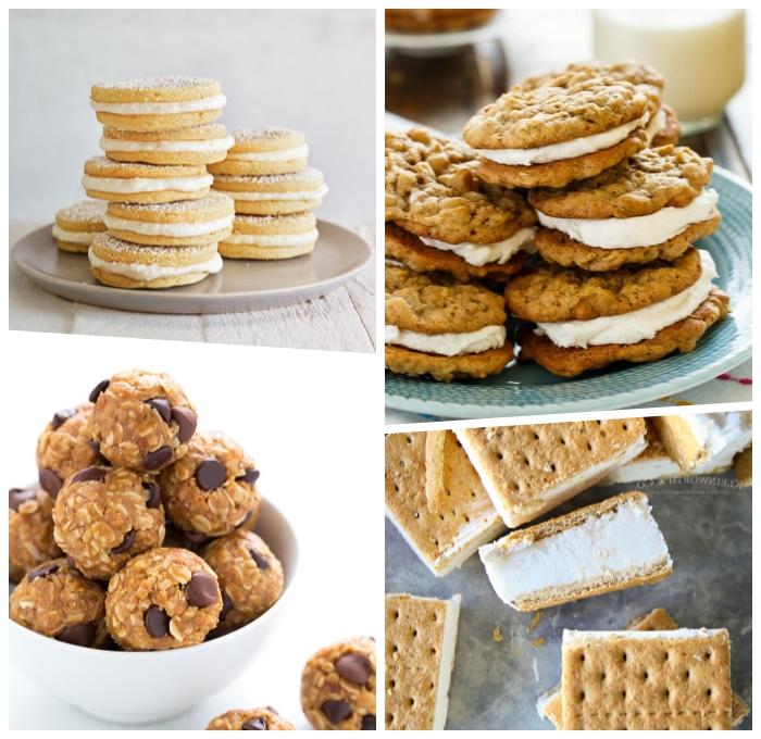 partyrezepte zum vorbereiten am vortag, eicsreme sandwisches, vanillekeksen, bällchen mit haferflocken und schokoladenchips