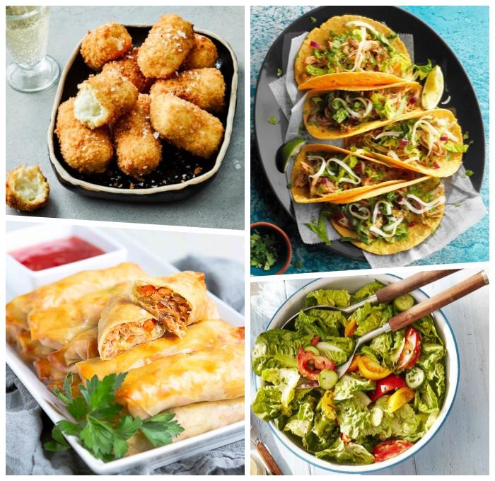 partyrezepte zum vorbereiten, kroketten mit sesamsamen, tacos mit gemüse, geunder salat, gebäcke mit butterteig