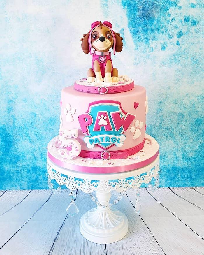 Rosa Geburtstagstorte für Mädchen, Paw Patrol Torte mit Skye, Rosa Torte für Kinder