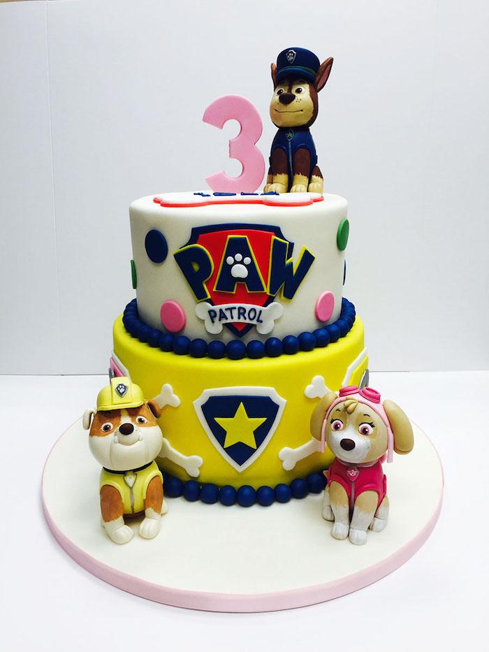 Paw Patrol Geburtstagstorte mit Rubble, Chase und Zuma, zweistöckige Fondant Torte