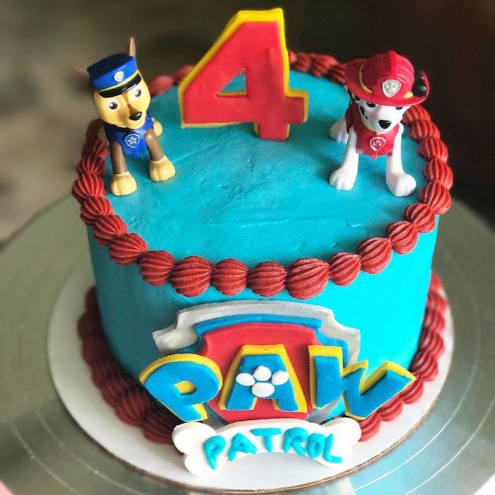 Blaue Paw Patrol Torte mit Chase und Marshall, ausgefallene Torten für Kindergeburtstag