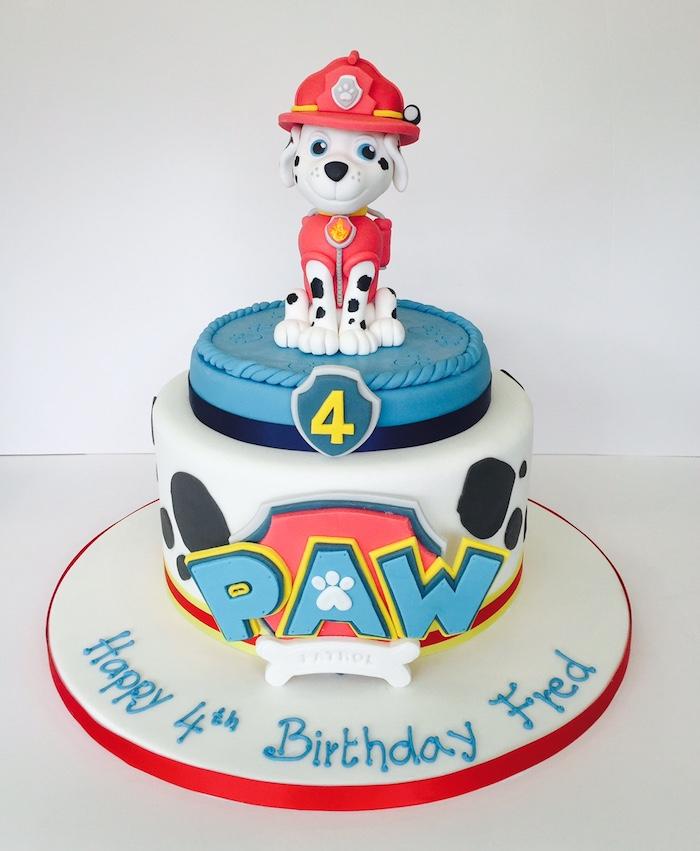 Paw Patrol Torte mit Marshall, ausgefallene Torte für Kindergeburtstag, zum vierten Geburtstag