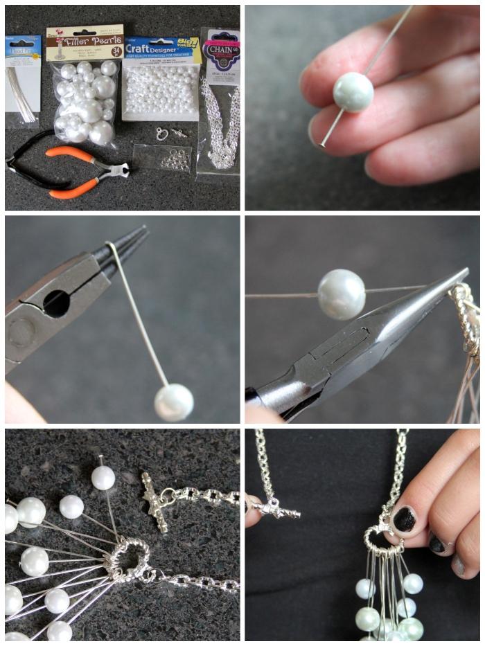 perlenkette selber machen ideen, weiße perlen, geschenk für mutti basteln, anleitung