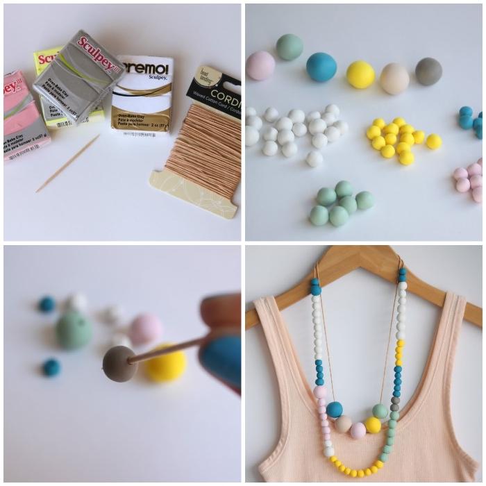 perlenketten selber machen, diy schmuck, kette aus bunten perlen, perlenketten baateln