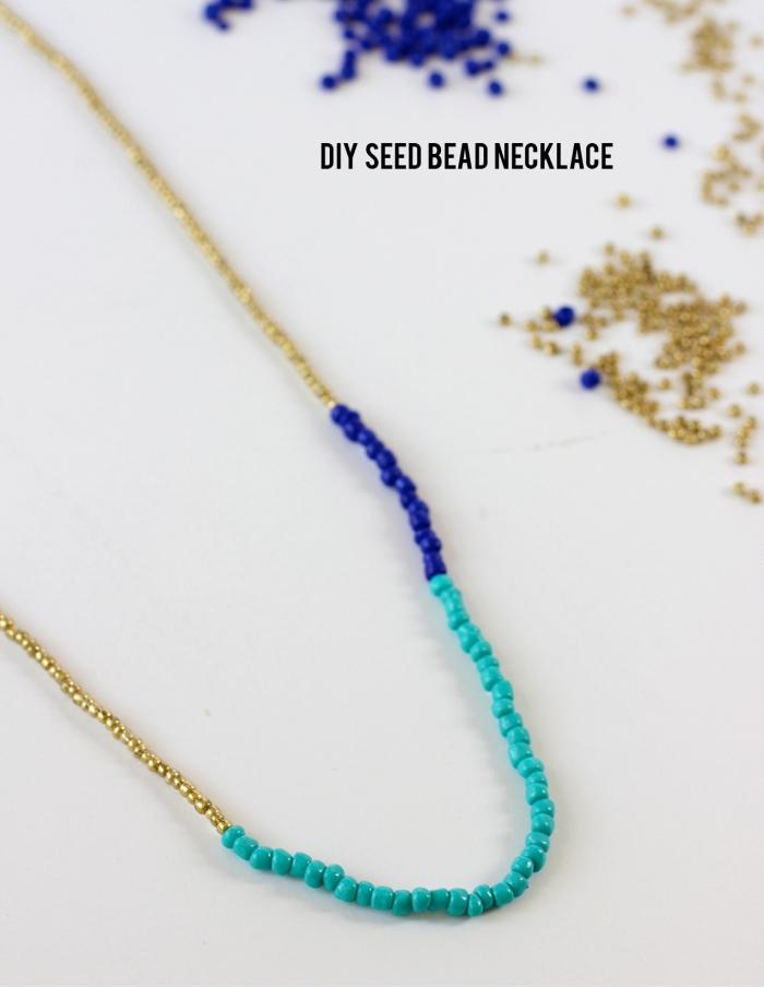 perlenketten selber machen, muttertagsgeschenke, diy halskette mit blauen und goldenen perlen
