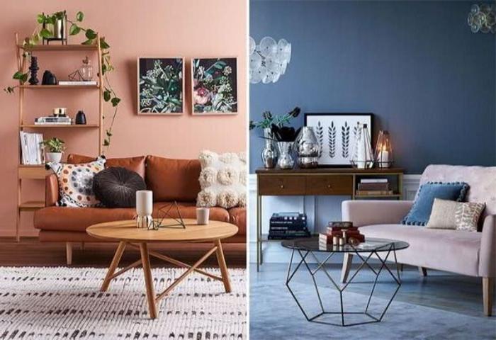 petrol farbe kombinieren, zwei ideen blau und rot, dekor zuhause, petrol mit rosa kombi
