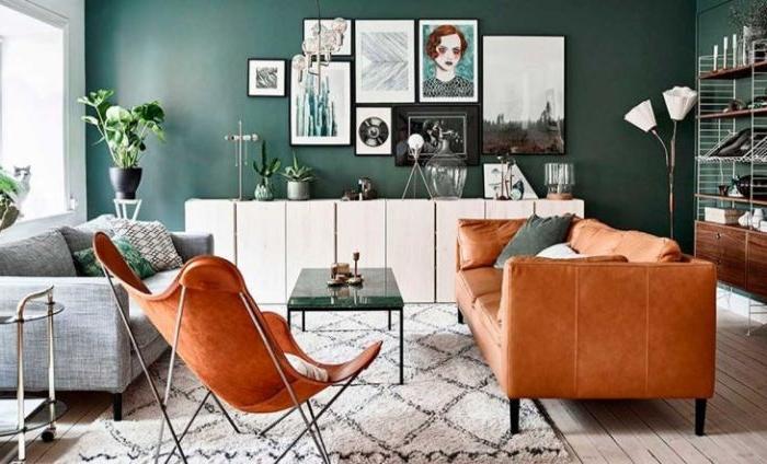 petrol farbe kombinieren mit orange wandbilder, wanddeko ideen teppich beige mit schwarz
