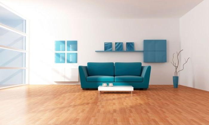 petrol farbe mischen in einem minimalistischen stil, sofa, holzboden parkett, wandbilder, wanddeko blau