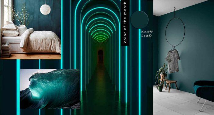 petrol farbe wand, wanddeko neon türkis auf petrol farbe, schlafzimmer ideen