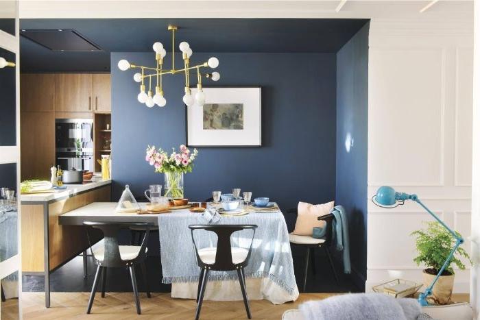 petrol farbe mische mit hellen farben, weiß und dunkle nuancen, küchen oder esszimmer deko