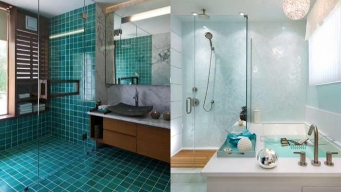petrol farbe mischen, collage ideen, badezimmer interieur, bad gestalten, spülbecken