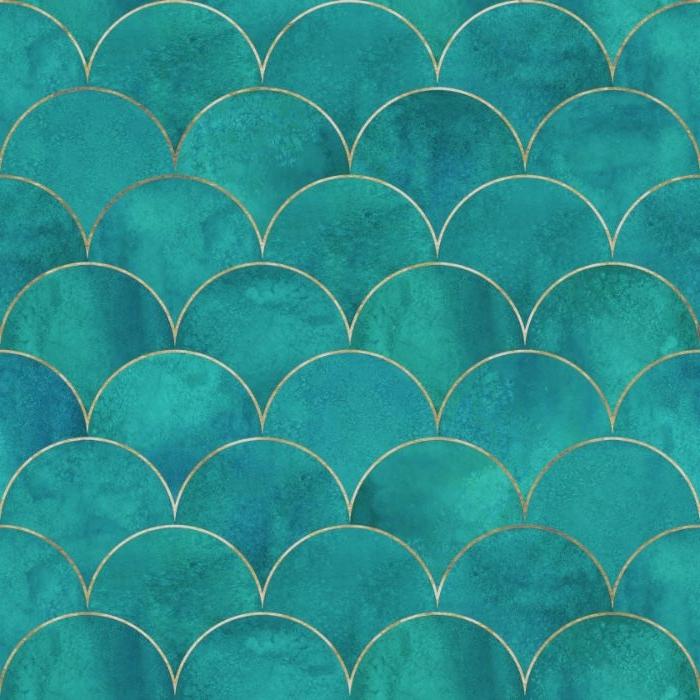 petrol farbe als deko motiv in der muster von meerjungfrau oder meerjungmann