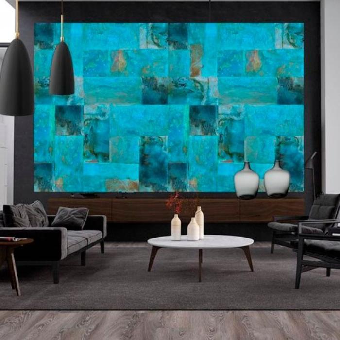 farbe petrol innendesign dekoration ideen, eine glaswand in farbe türkis und petrol, wasser gefühl zu hause