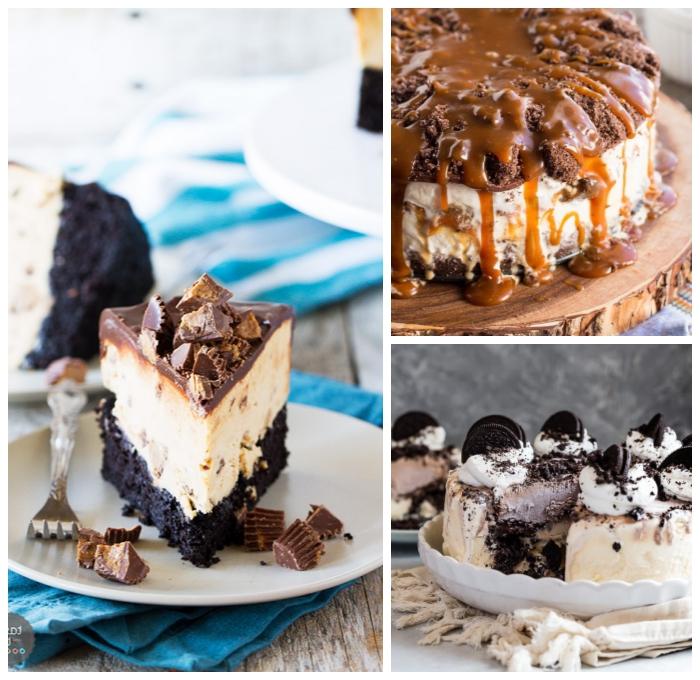 chesecake mit boden aus oreo keksen garniert mit schokolade und pralinen, philadelphia torte rezept