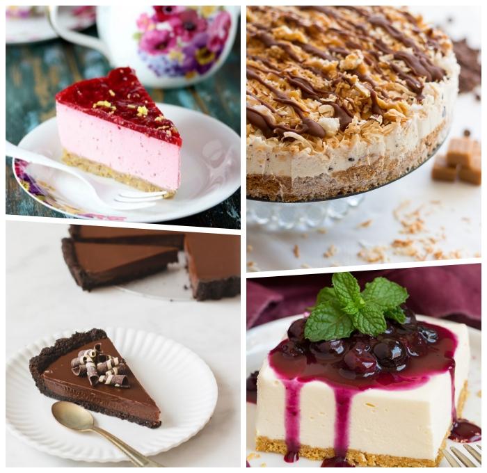 philadelphia torte rezept, nachtisch ideen, cheesecake mit kirschen, tarte mit schokolade, frischkäsekuchen