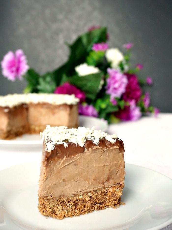 nachtisch mit schokolade, frischkäsekuchen mit kokosflocken, philadelphia torte rezept